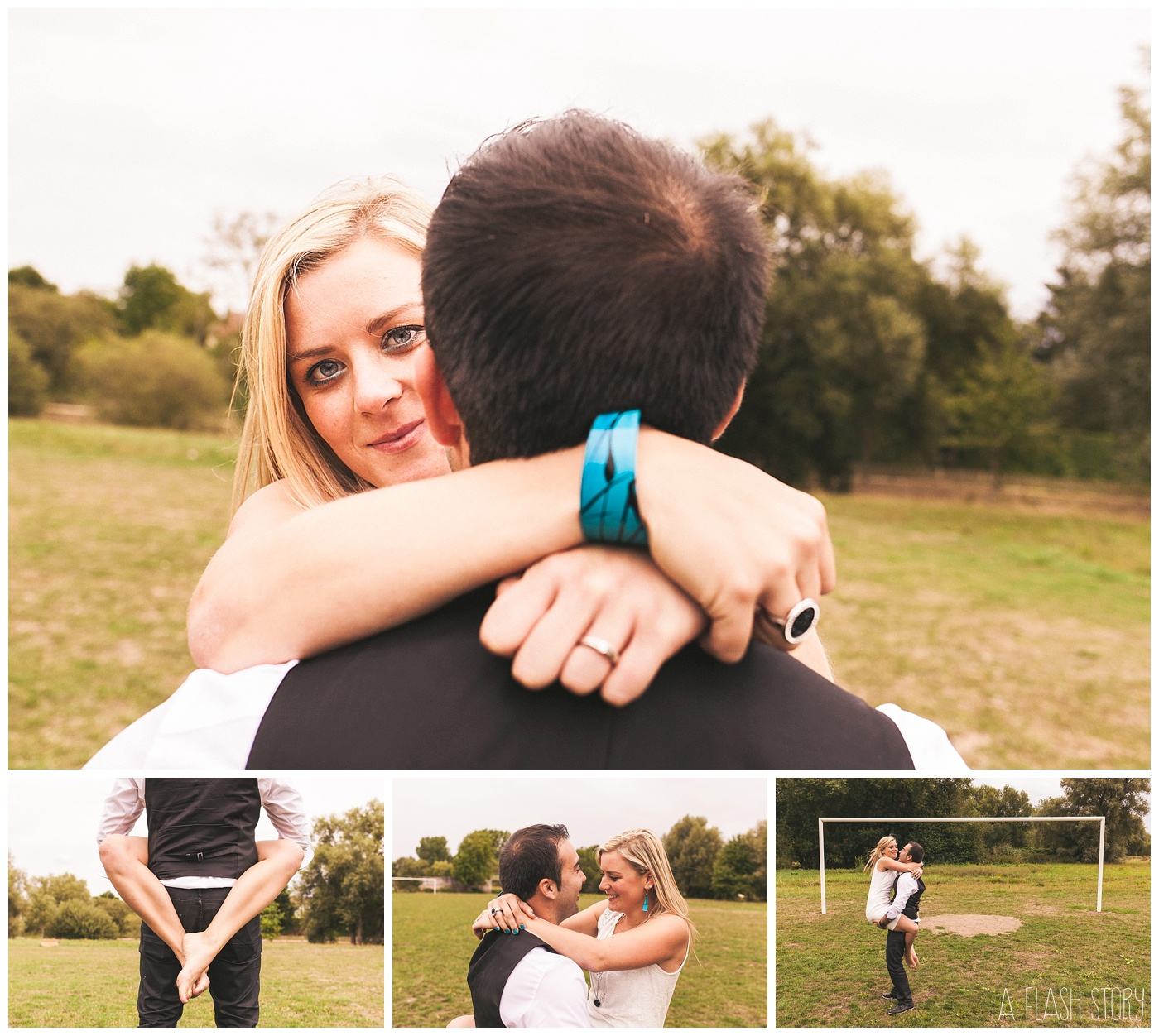 portraits de couple sur terrain de foot
